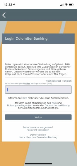 Login mit DEMO-Modus