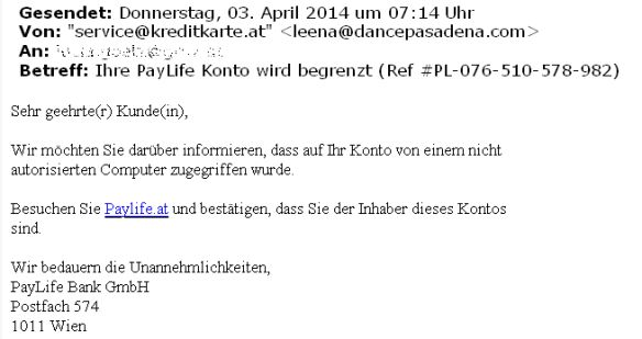 ACHTUNG: Phishing Mail PayLife